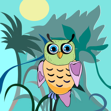 Cute Owl, cartoon drawing, cute illustration for children, illustrations (hipster symbol series) Vector