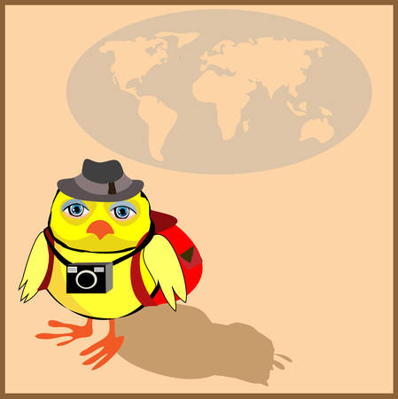 Cute chicken with a backpack and a camera in cartoon stile, illustration to the concept of tourism. Vector