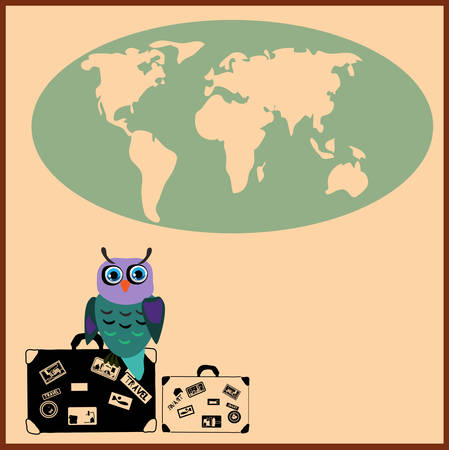 Cute Owl with suitcases in cartoon stile,illustration to the concept of tourism.  Vector