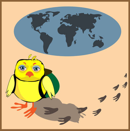 Cute chicken with a backpack in cartoon stile, illustration to the concept of tourism.  Vector