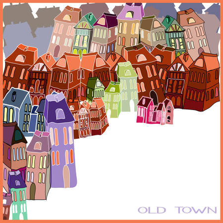 Little old town illustration. Vector
