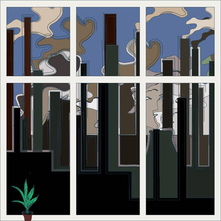 Problems of ecology concept. Industrial building factory, smoke from the chimneys illustration. Vector