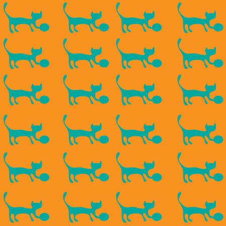 orange pattern: Kitten with a bow on orange pattern seamless. Illustration