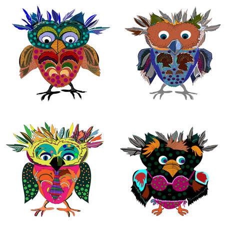 animal  beautiful: Set of Cute Owl cartoon drawing, cute illustration for children Illustration