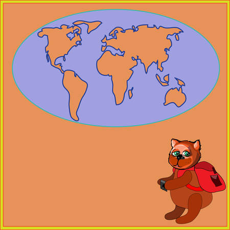 siluet: Cute bear with a backpack in cartoon stile illustration