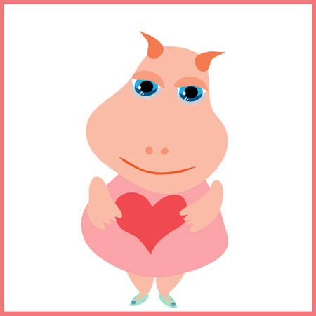 Cute fairy tale character keeps the heart in hand, drawn in a cartoon style illustration.  Vector