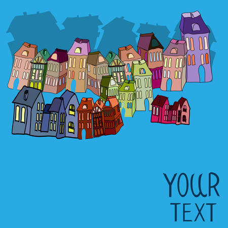 Houses, with place for your text. Vector illustration. Vector