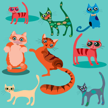 set of cute cartoon cats. Vector