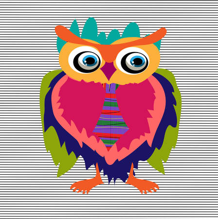 Cute Owl, cartoon drawing, cute illustration for children illustrations (hipster symbol series) Vector