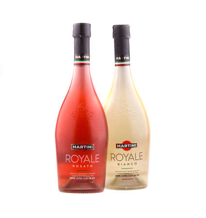 KRAKOW, POLAND - FEB 6, 2014: Studio shot 750ml bottle of Martini Royale Rosato and 750ml bottle of Martini Royale Bianco, isolated on white background. Brand of Martini & Rossi founded 1863 in Turin.
