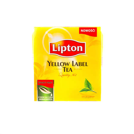 KRAKOW, POLAND - FEB 8, 2014: Studio shot packs of tea Lipton Yellow Label 100 tea bags, isolated on white. Lipton is a world famous brand of tea - founded 1890 and named after its founder Thomas Lipton.