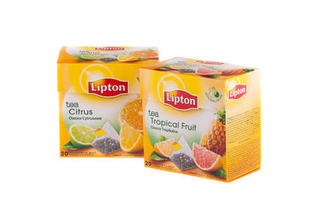 KRAKOW, POLAND - FEB 8, 2014: Studio shot packs of Lipton Pyramid Tea in assortment isolated on white. Lipton is a world famous brand of tea - founded 1890 and named after its founder Thomas Lipton.