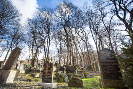 KRAKOW, POLAND - FEB 17, 2013: New Jewish Cemetery in the historic Jewish neighborhood of Kazimierz, covers an area of about 4.5 hectares (11 acres), is a registered heritage monument.
