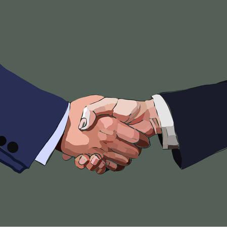 Handshake business people, partnership, vector illustration. Vector