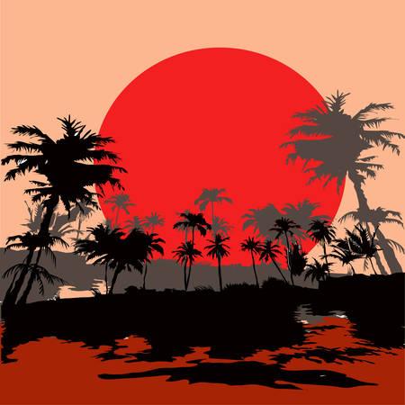 Beach resort in the tropics at sunset, vektor illustration. Vector