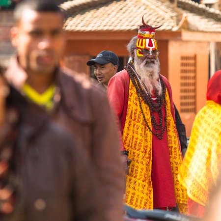 KATHMANDU, NEPAL - DEC 2: Unknown Sadhu Monk in Durbar Square, Dec 2, 2013 in Kathmandu, Nepal.
