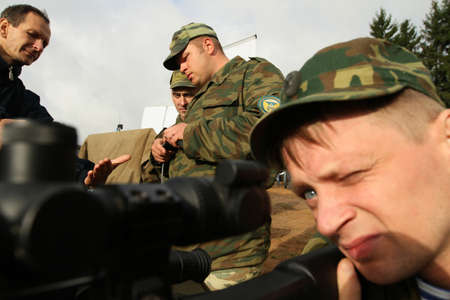 saboteur: KOSTROMA REGION, RUSSIA - AUG 26, 2010: Unidentified soldiers during Command post exercises with 98-th Guards Airborne Division.