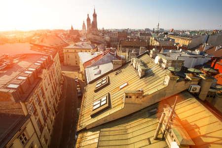 Top Blick auf das historische Zentrum von Krakau, Polen.