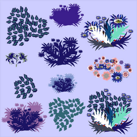marple: Set of design elements with leafs, herbariums, vector illustrations.