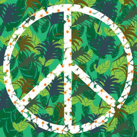 Pacifik - peace symbol in shades of green, vector illustration  Vector