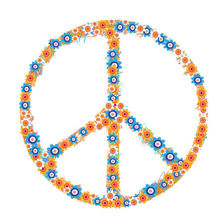 Peace symbol made from flowers on white background. Vector