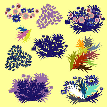 Set of  vector design elements with leafs, herbariums. Illustration