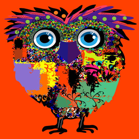 Owl illustration for t-shirt, illustration for children  Vector