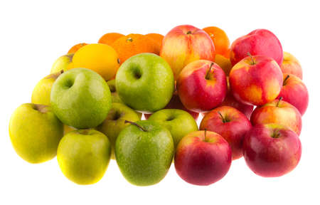 bushel: Oranges, red and green apples isolated on white background.