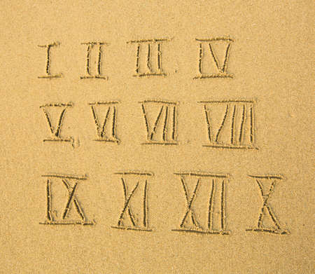 Roman numerals (numbers) written on a sandy beach. photo