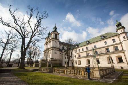 KRAKOW, POLAND - FEB 17, 2014: Church of St.Stanislaus Bishop. Built 1472, In 1733-1751 the church received a baroque decor. It is one of the most famous Polish sanctuaries.