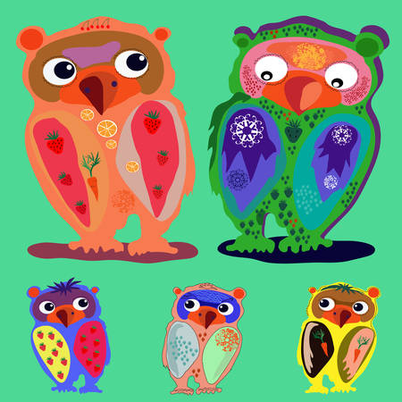 Set of Cute Owl (on a green background), cartoon drawing, cute illustration for children, vector illustrations  (a series of popular hipster-characters) Vector