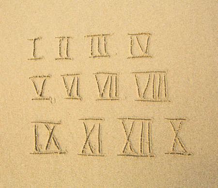Roman numerals written on a sandy beach. photo