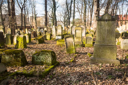 KRAKOW, POLAND - FEB 17, 2014: New Jewish Cemetery in the historic Jewish neighborhood of Kazimierz, covers an area of about 4.5 hectares (11 acres), is a registered heritage monument.