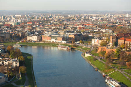 KRAKOW, POLAND - OCT 20, 2013: Aerial view of the Vistula River in the historic city center. Vistula is the longest river in Poland, at 1,047 kilometres in length.