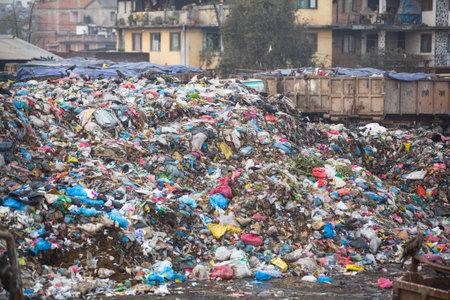 landfills: KATHMANDU, NEPAL - DEC 19, 2013: Pile of domestic garbage at landfills. Only 35% population of Nepal have access to adequate sanitation.