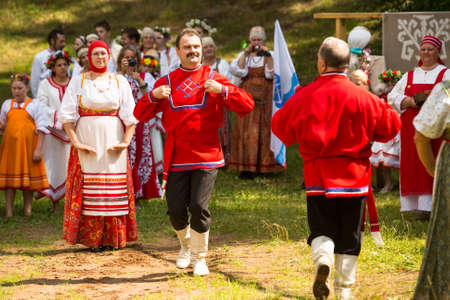 relates: TERVENICHI, RUSSIA - JUL 7: Local people celebrated Ivan Kupala Day, Jul 7, 2013, Tervenichi, Russia. The celebration relates to the summer solstice and includes a number of fascinating Pagan rituals. Editorial