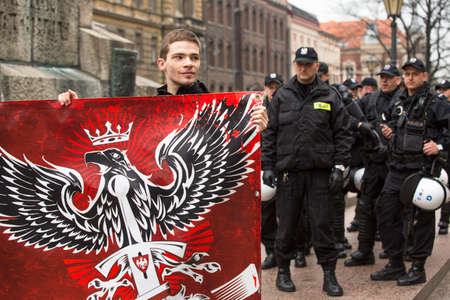 minister: KRAKOW, POLAND - APR 13, 2014: Unidentified participants IV Procession Katyn in memory of all murdered in Apr 1940, more than 21,000 Polish prisoners from NKVD camps and prisons at behest of I.Stalin.