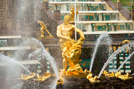 Famous Samson and Lion fountain in Peterhof Grand Cascade in St. Petersburg, Russia.
