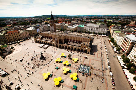 main market: View of the Main Square is the main market square of the Old Town in Kraków, Poland.