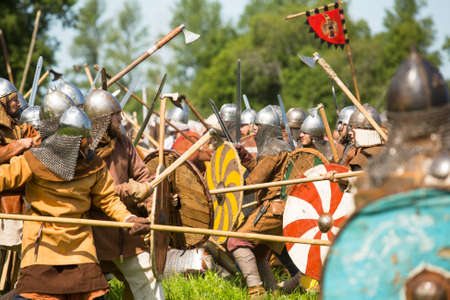 12 13: STARAYA LADOGA, RUSSIA - JULY 13: Unidentified participants during of international historical festival of medieval culture Ladogafest-2013 (12-14 of Jul) on July 13, 2013 on Staraya Ladoga, Russia.
