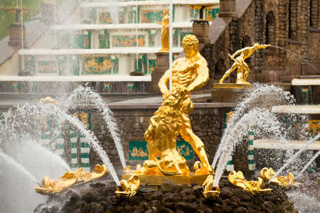 Famous Samson and Lion fountain in Peterhof Grand Cascade, St.Petersburg, Russia.