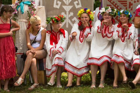 relates: TERVENICHI, RUSSIA - JUL 7: Unidentified girl during Ivan Kupala Day, Jul 7, 2013, Tervenichi, Russia. The celebration relates to the summer solstice and includes a number of fascinating Pagan rituals.