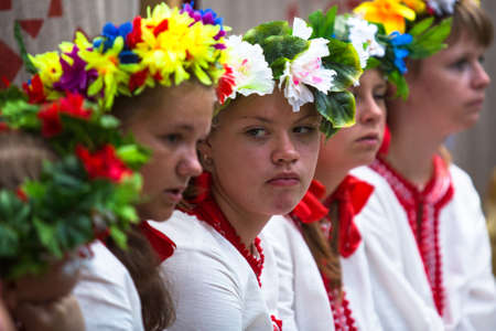 TERVENICHI, RUSSIA - JUL 7: Unidentified girl during Ivan Kupala Day, Jul 7, 2013, Tervenichi, Russia. The celebration relates to the summer solstice and includes a number of fascinating Pagan rituals.