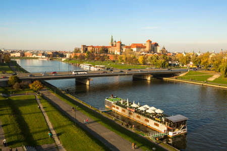 KRAKOW, POLAND - OCT 20, 2013: View of the Vistula River in the historic city center. Vistula is the longest river in Poland, at 1,047 kilometres in length.