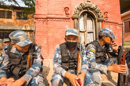 tasked: KATHMANDU, NEPAL - Oct 19: Unknown nepalese soldiers Armed Police Force, Dec 19, 2013 in Kathmandu, Nepal. Minimum age for enlistment is 18 years, tasked with counterinsurgency operations in Nepal.