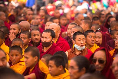 padma: KHATMANDU, NEPAL - DEC 17: Unidentified tibetan Buddhist monks near stupa Boudhanath during festive Puja of H.H. Drubwang Padma Norbu Rinpoches reincarnations, Dec 17, 2013 in Khatmandu, Nepal. Editorial