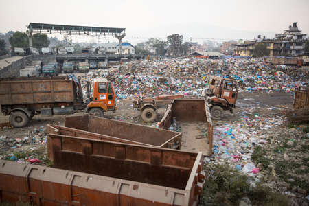 landfills: KATHMANDU, NEPAL - DEC 19: Pile of domestic garbage at landfills, Dec 19, 2013 in Kathmandu, Nepal. Only 35% population of Nepal have access to adequate sanitation. Editorial