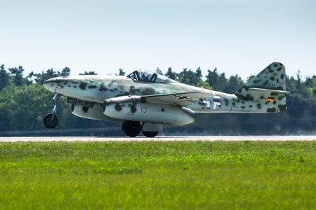 ber: BERLIN, GERMANY - MAY 21, 2014: Messerschmitt Me 262 (Germany) demonstration during the International Aerospace Exhibition ILA Berlin Air Show-2014. Editorial