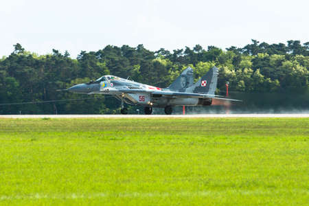 jet fighter: BERLIN, GERMANY - MAY 20, 2014: Jet fighter Mikojan-Gurewitsch MiG-29 (Polish Air Force) demonstration during the International Aerospace Exhibition ILA Berlin Air Show-2014.