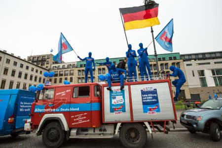 BERLIN, GERMANY - MAY 23, 2014: Activists rally in support of AfD (Alternative for Germany) - political party founded in 2013. Won 7 of Germanys 96 seats for European Parliament in May 2014 election.